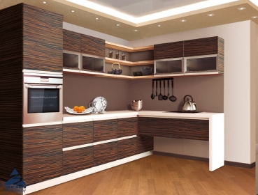 KITCHEN FROM CHIPBOARD-VENEER 'TAFEL-3' MACASAR