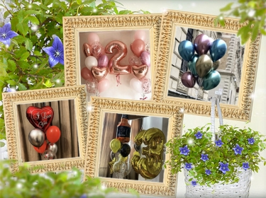 Interior decoration with fresh flowers and balloons.